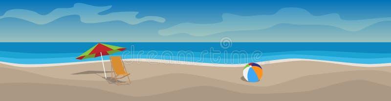 与海滩,太阳床,伞,海的水平的传染媒介横幅 向量例证
