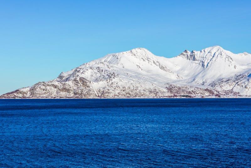 与海洋,挪威的雪山 免版税图库摄影