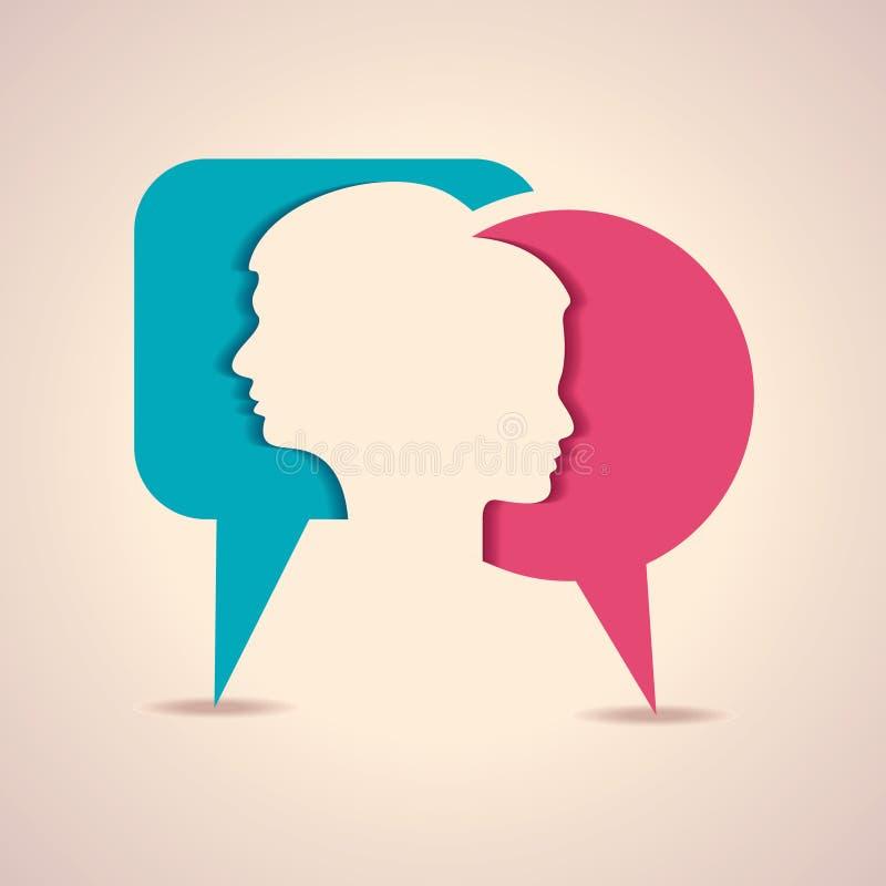 与消息泡影的男性和女性面孔 向量例证