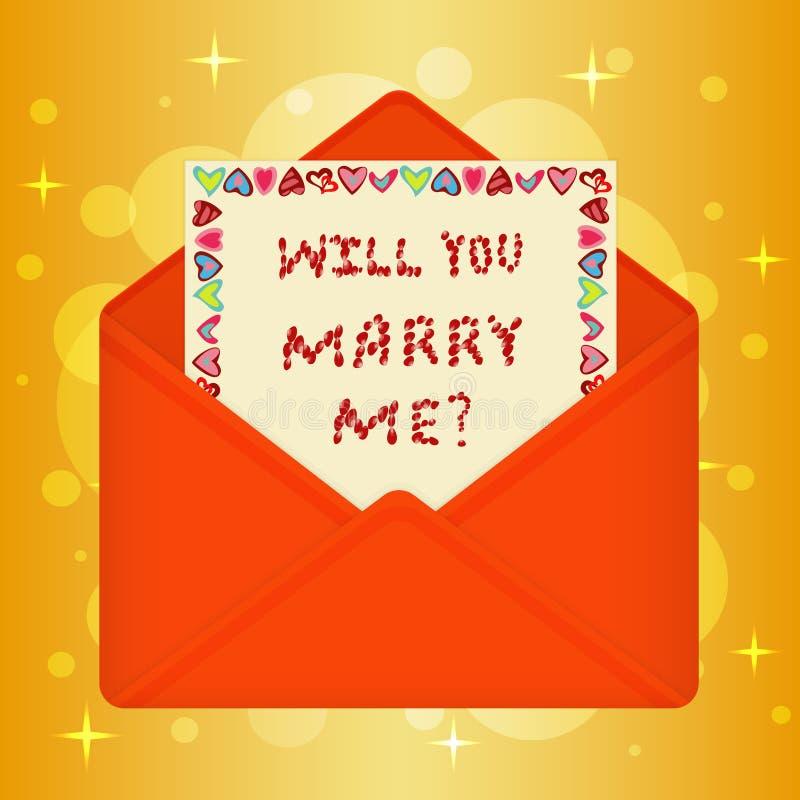 与消息的明信片您与我结婚 皇族释放例证