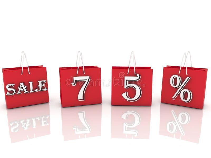 与消息销售和75百分之的购物袋 免版税图库摄影
