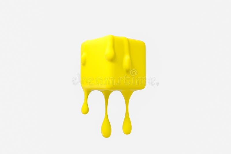与液体下落细节的黄色熔化的立方体,3d翻译 库存例证