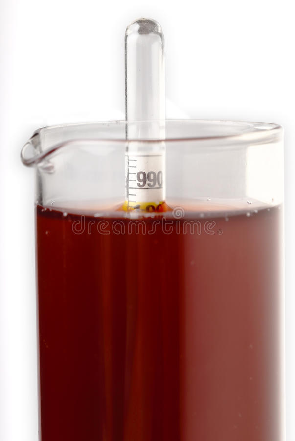 与液体比重计的测量的酒密度 免版税库存照片