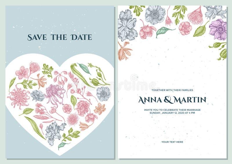 与淡色日本菊花,黑莓百合,玉树花,银莲花属,虹膜japonica的婚姻的请帖 库存例证