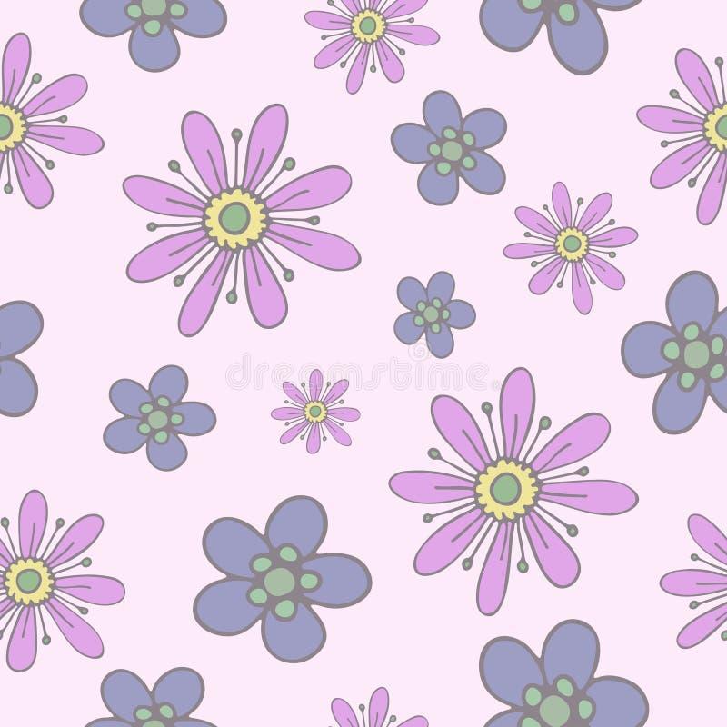 与淡色柔和的手拉的花的无缝的样式  库存例证