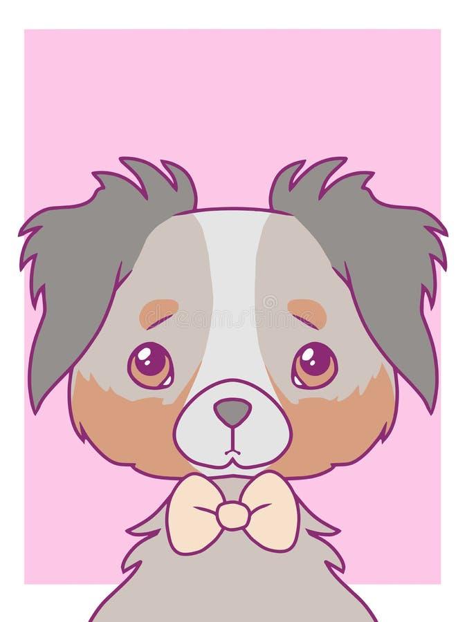 与淡色色的澳大利亚牧羊犬的逗人喜爱的动画片样式传染媒介艺术印刷品动机与bowtie 库存例证
