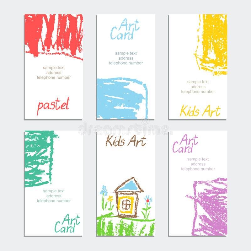 与淡色软的颜色蜡笔卡片的手拉的艺术冲程 海报模板集合 皇族释放例证