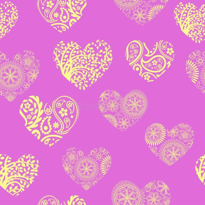 与淡色黄色心脏的无缝的样式在淡紫色背景 向量例证
