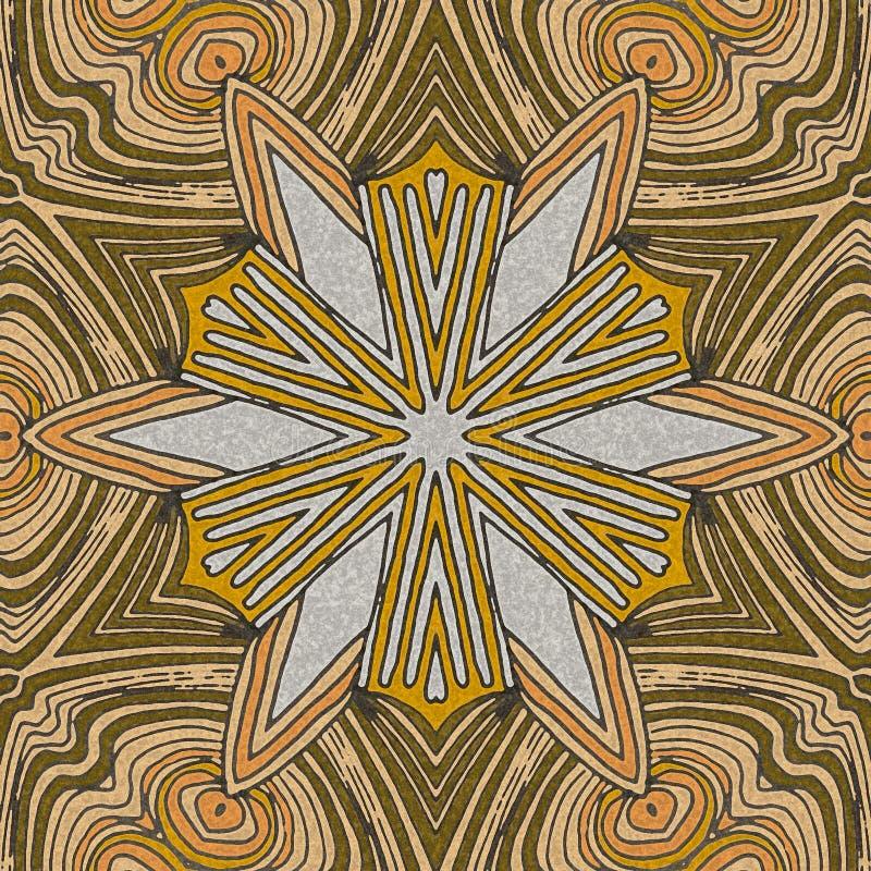 与淡黄色的抽象热带花背景 向量例证