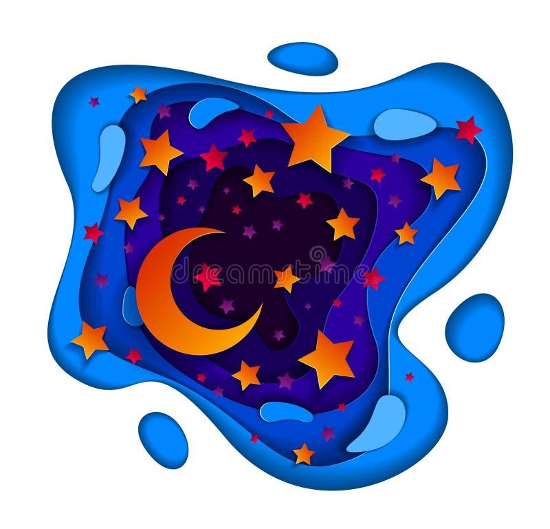 与深刻的蓝色和紫罗兰色曲线线摘要的美好的神仙的夜 向量例证