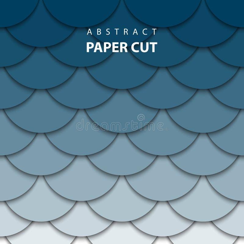 与深刻的蓝色梯度颜色纸裁减形状的传染媒介背景 向量例证