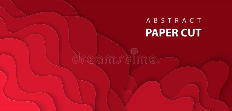 与深红颜色纸裁减形状的传染媒介背景 库存例证