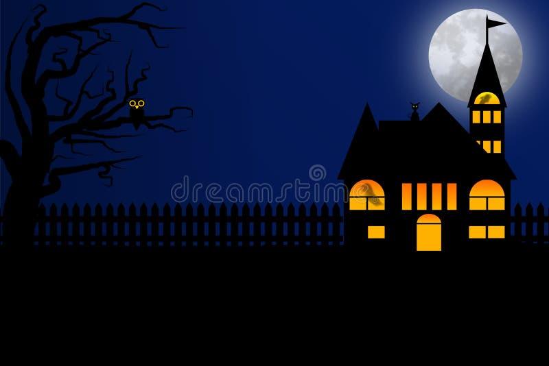 与深蓝天空和满月的万圣夜夜 向量例证