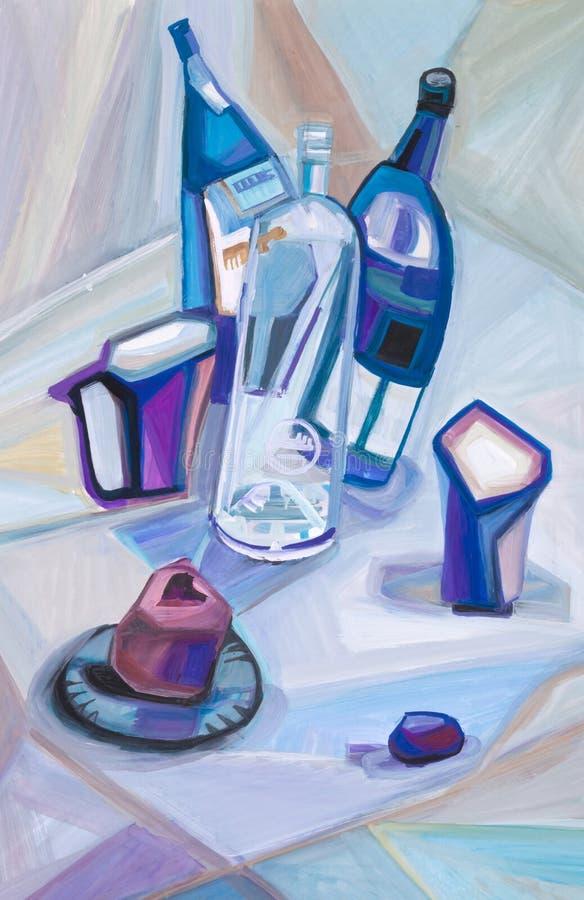 与蓝色瓶的抽象静物画 库存例证
