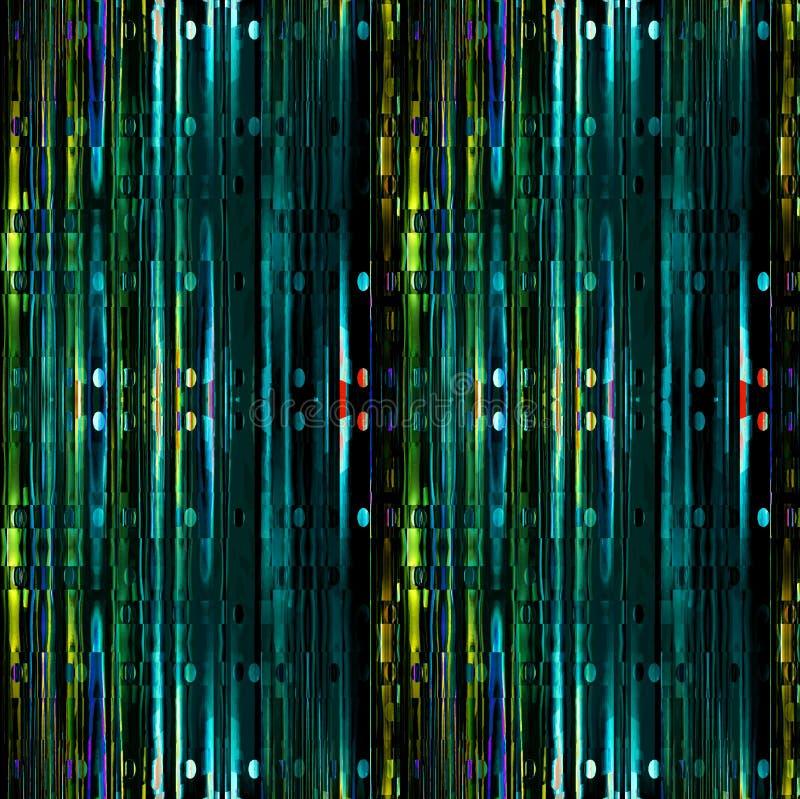 与深蓝色椭圆绿色的绿松石的复杂条纹样式垂直 向量例证