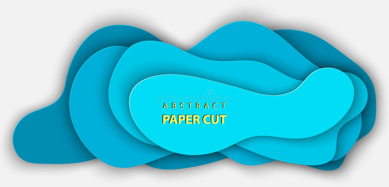 与深蓝色颜色纸的传染媒介背景削减了形状 库存例证