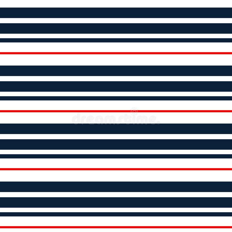 与深蓝,红色和白色水平的平行的条纹的条纹无缝的样式 向量背景 五颜六色的柔和的淡色彩 皇族释放例证