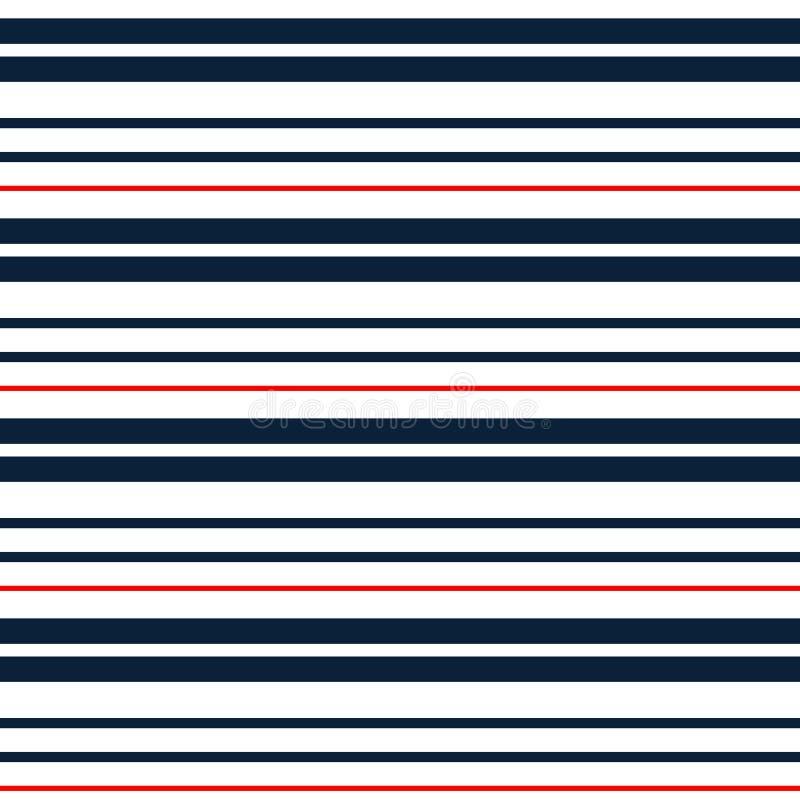 与深蓝,红色和白色水平的平行的条纹的条纹无缝的样式 向量背景 五颜六色的柔和的淡色彩 向量例证