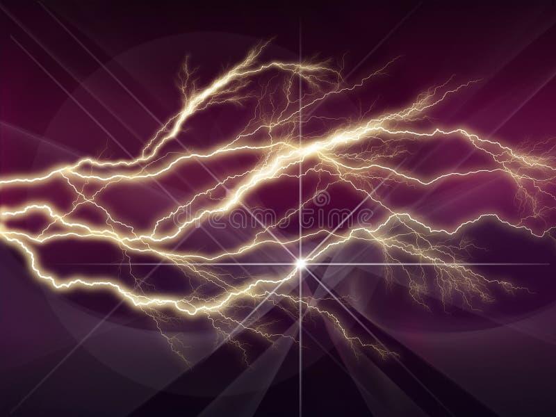 与深紫色的天空的五颜六色的抽象荧光的闪电 向量例证