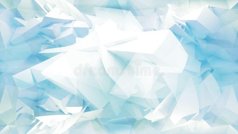 与混乱多角形滤网的蓝色摘要3d背景 库存例证