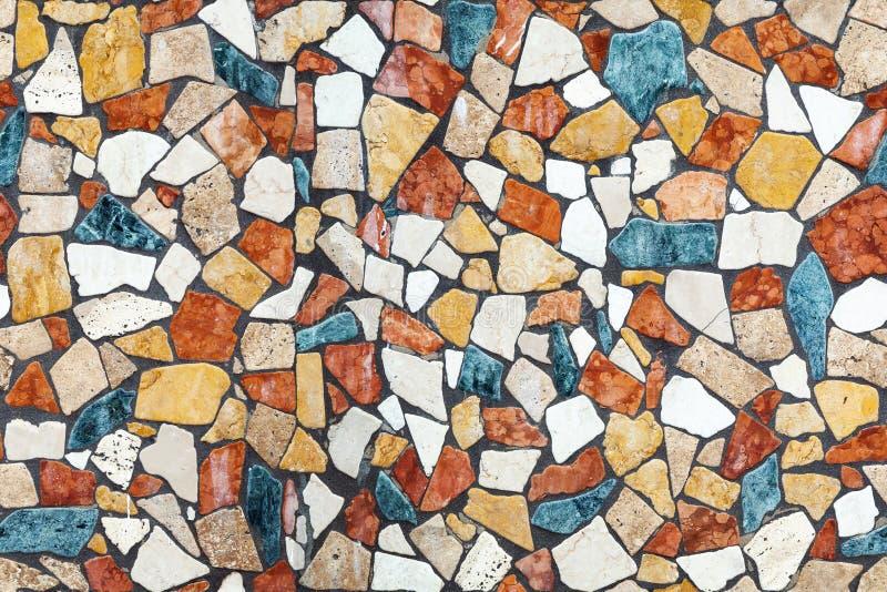与混乱样式的五颜六色的石马赛克,无缝 免版税库存照片