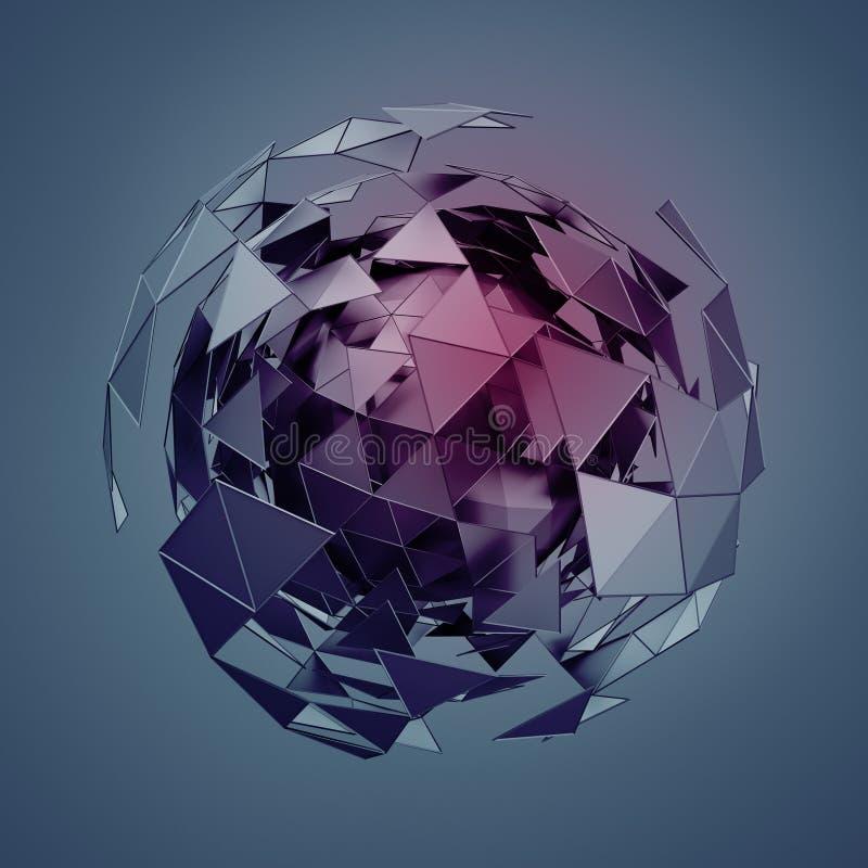 与混乱结构的低多球形 库存例证