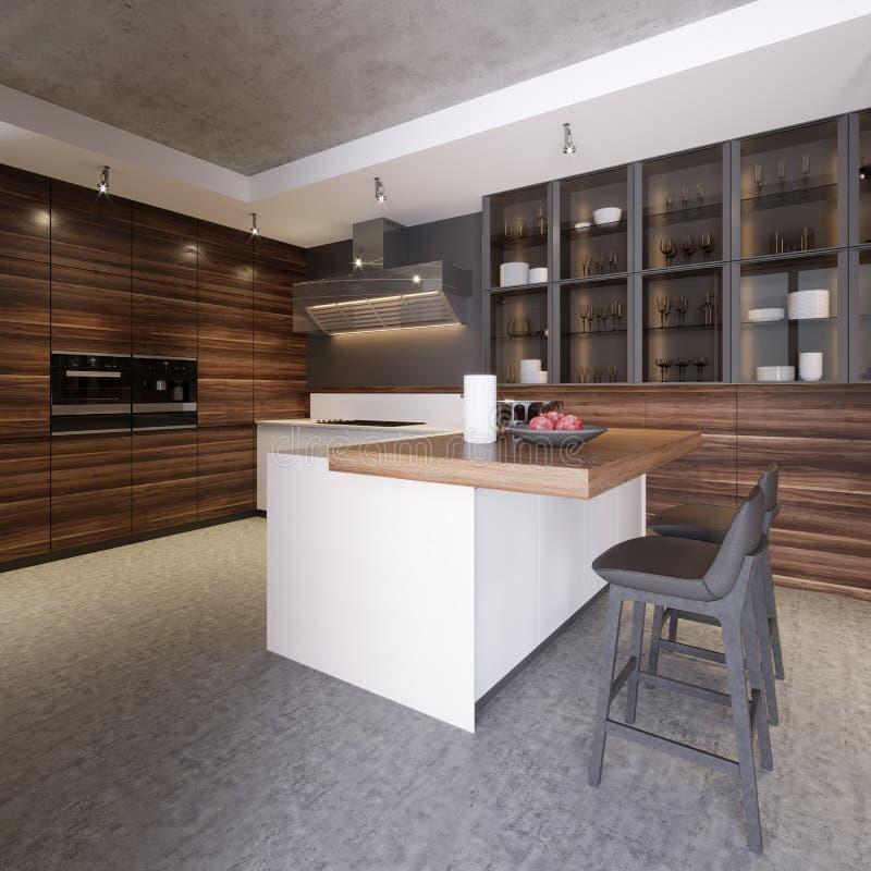与混凝土墙的厨房内部,白色工作台面和控制台、大窗口、一个水泥地板和酒吧站立与凳子 皇族释放例证