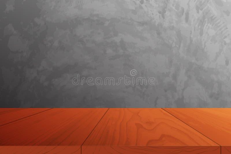 与混凝土墙的木地板 向量例证