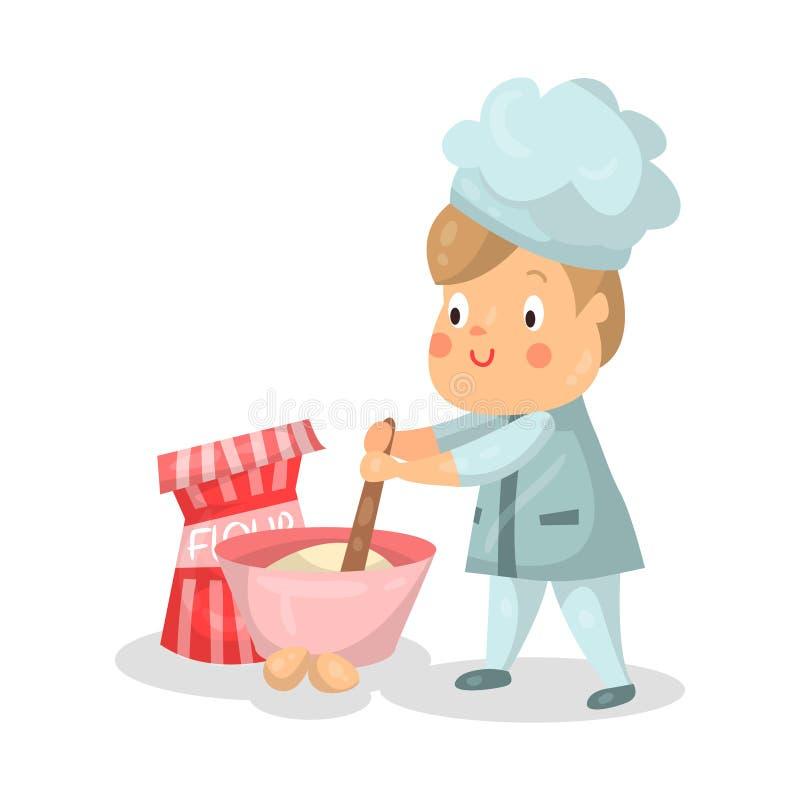 与混料盆和扫例证的逗人喜爱的动画片小男孩厨师字符 皇族释放例证