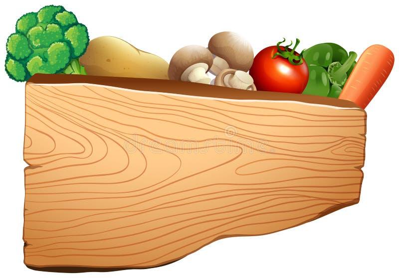 与混杂的菜的木标志 库存例证