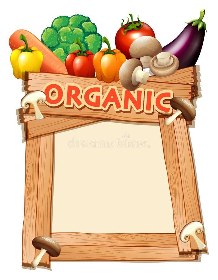 与混杂的菜的框架模板 库存例证