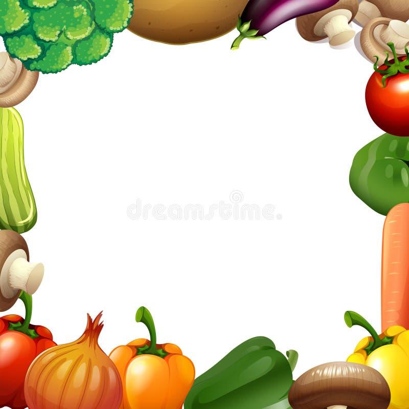 与混杂的菜的边界设计 库存例证