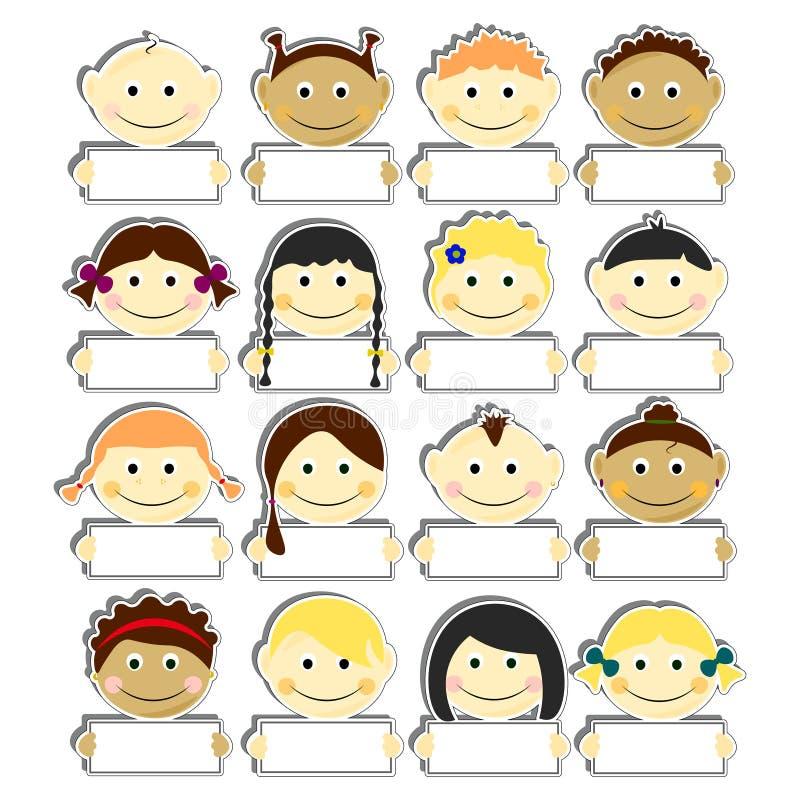 与传单标识牌被设置的传染媒介例证的孩子 与微笑和各种各样的发型的图片