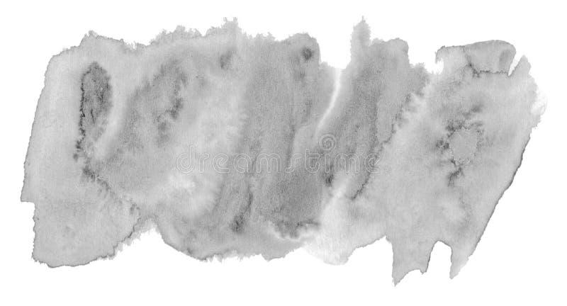 与清楚的边界和离婚的水彩中立灰色背景 黑白水彩刷子污点 r 库存例证