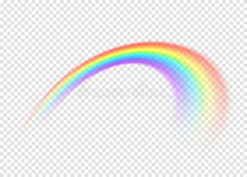 与清澈部分边缘的彩虹在透明背景 向量例证