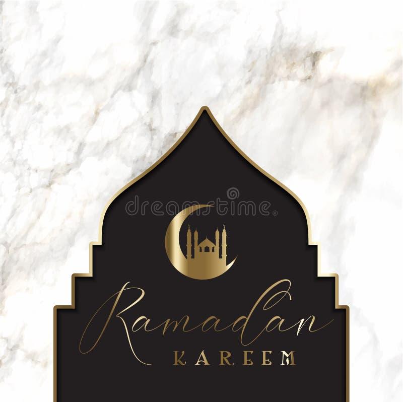 与清真寺剪影的赖买丹月背景在大理石纹理 向量例证
