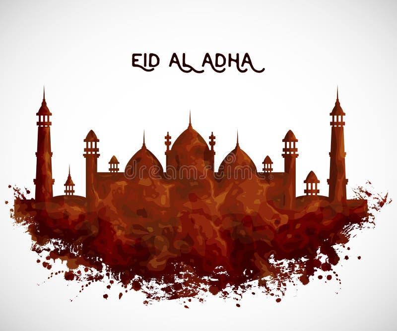 与清真寺大厦的贺卡在水彩样式 传统回教节日eid Al adha的设计观念 库存例证