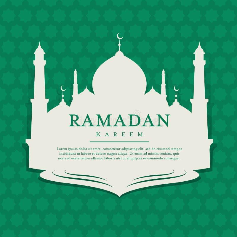 与清真寺横幅标记的赖买丹月kareem在阿拉伯样式绿色背景传染媒介设计 向量例证