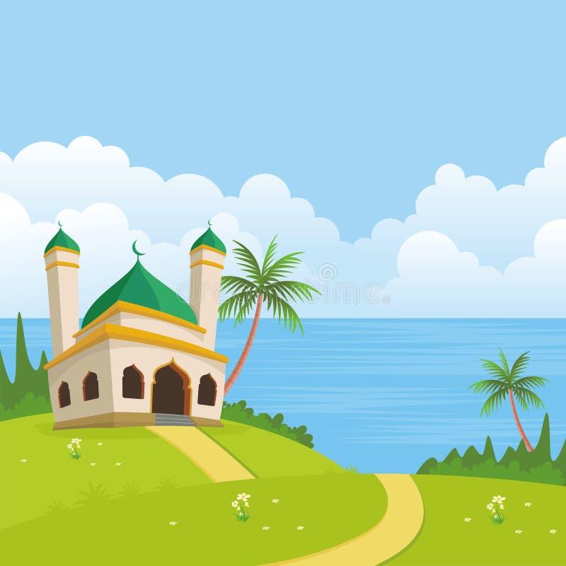 与清真寺的伊斯兰教的自然风景 库存例证