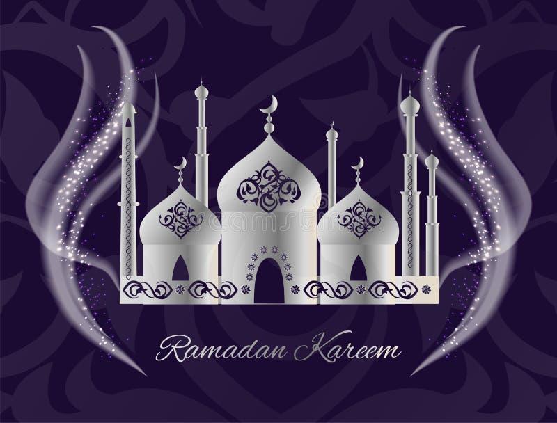 与清真寺,崇拜地方的赖买丹月Kareem明信片 库存例证