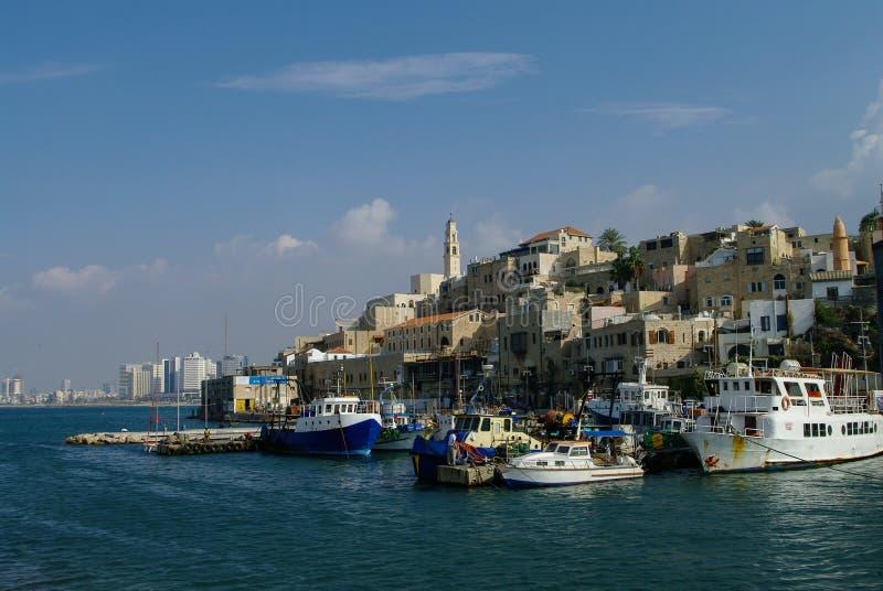 与渔的旧港口在贾法角运送 特拉唯夫 以色列 库存照片