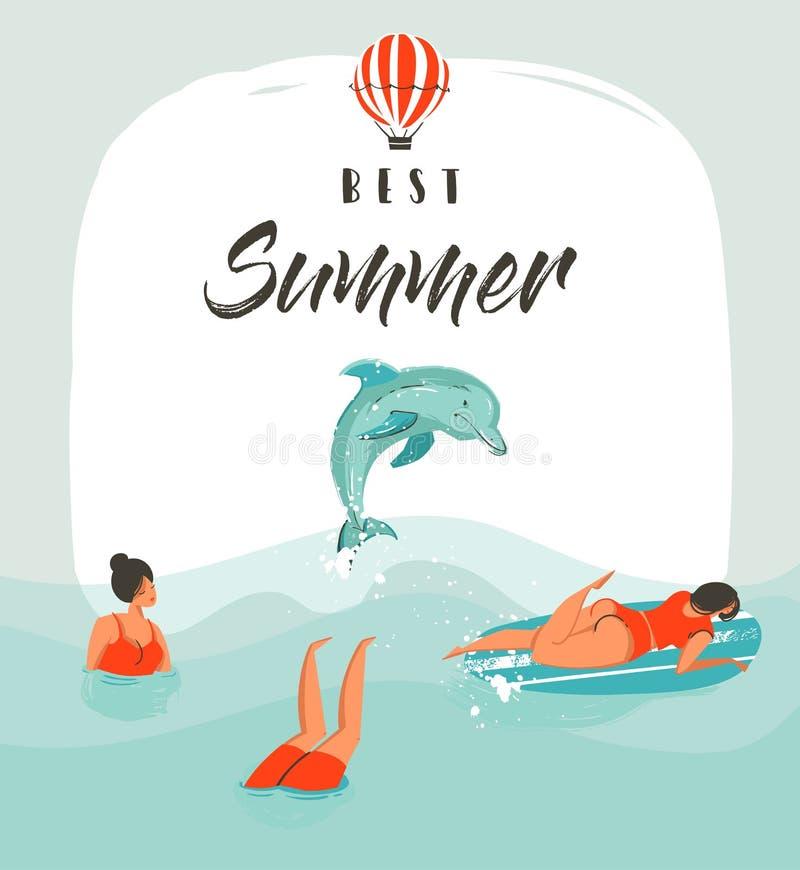 与游泳愉快的人的手拉的传染媒介摘要夏时乐趣例证卡片模板在海挥动与 皇族释放例证