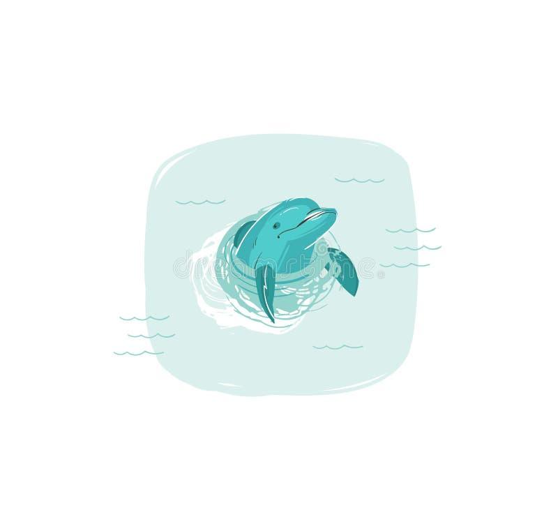 与游泳海豚的手拉的传染媒介摘要动画片夏时乐趣例证在被隔绝的蓝色海浪  皇族释放例证