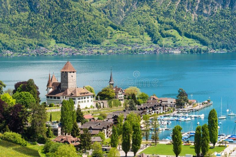 与游艇船的施皮茨城堡在湖图恩在伯尔尼,瑞士 美好的横向瑞士 库存照片