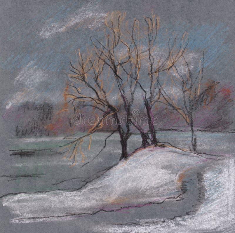 与湖的冬天风景 库存例证