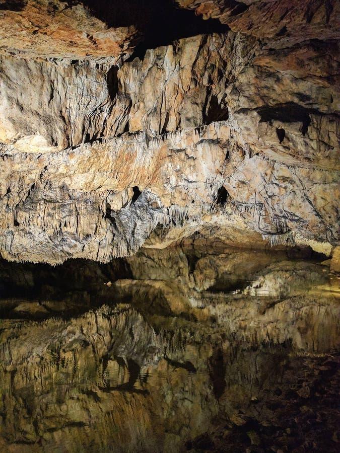 与湖的Speleothem形成Baradla的陷下,匈牙利 免版税库存图片