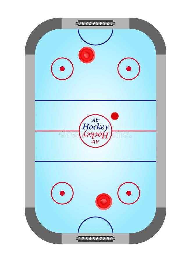 与溜冰场的蓝色桌空气与小门蓝色曲棍球表面上黑柜台和红色和蓝线的曲棍球和灰色在a 向量例证