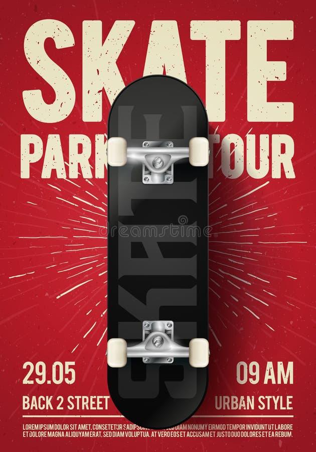 与滑板的传染媒介例证葡萄酒都市踩滑板的节日事件设计海报飞行物 冰鞋公园游览背景机智 库存例证