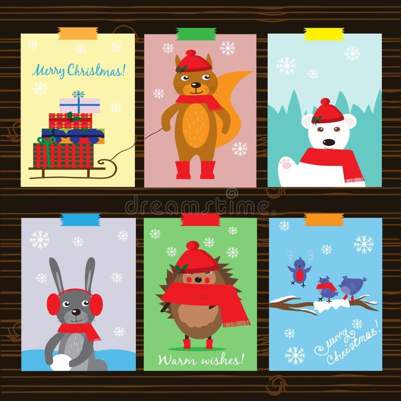 与滑稽的动物的圣诞节汇集 库存例证