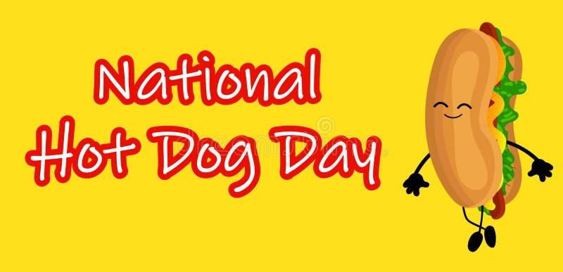 与滑稽的动画片热狗的全国热狗天海报 热狗天标签或邮票 向量例证